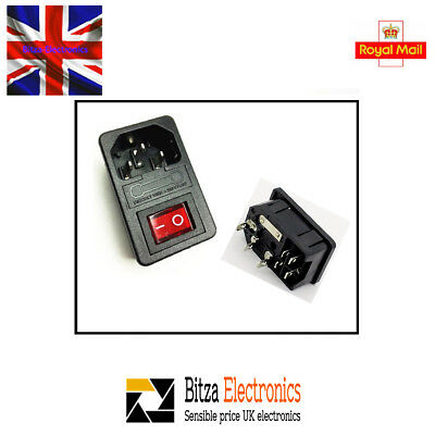 3 Pin IEC320 C14 Inlet Male Power Socket Fused illum Switched Snap in UK Seller