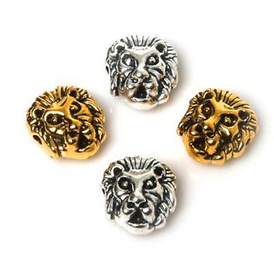 50Pcs Silver & Gold Plated Retro Lion Head Spacer Beads Crafts Jewelry Making