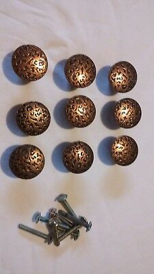 NOS Vtg Copper Hammered Metal Cabinet Knobs Door Drawer knobs Set 9 Ajax