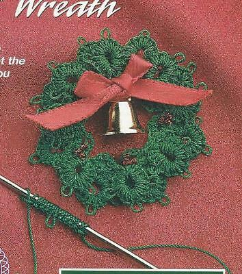 Crochet Pattern Fancy Wreath Ornaments Christmas Instructions