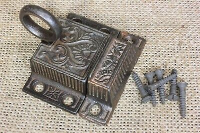 cabinet cupboard latch catch transom sash lock rustic ring pull old vintage