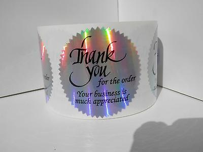 36 Thank you for the order Your business is appreciated  holographic cut labels