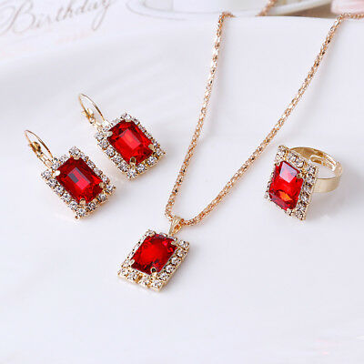 Women Fashion Jewelry Set Wedding Party Necklace Earrings Finger Ring Cheap