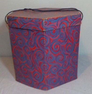 "VTG Paisley Cardboard Tall Hat Wig Box Psychedelic Blue Purple Pink 12.5"" x 14"""