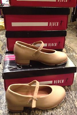 Girls Size 12.5 Bloch Tan Leather Mary Jane Buckle Tap Dance Shoes New In Box!