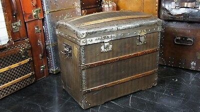 Antique French Domed Striped Canvas Steamer Trunk Chest Circa 1890