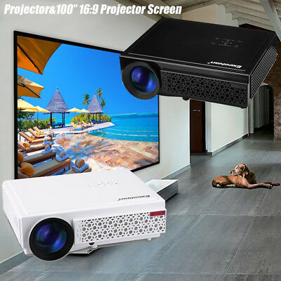 LED96+ 1080P FHD 3D 5000Lumen ATV Home Theater Projector HDMI For Phone PS4 Xbox
