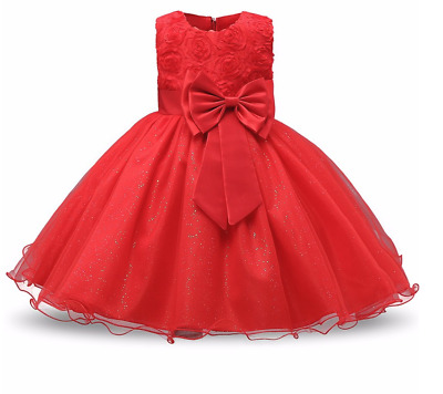 Belle Robe Rouge Bebe Fille Taille 6 Mois Style Princesse Anniversaire