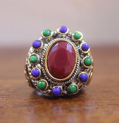 Medieval Style Silver & Gold Plated Heavy Statement Ring - Size 7 - NEW