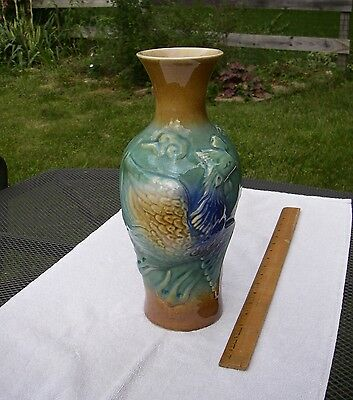 Large ORIENTAL Molded Pottery PHOENIX VASE-Thick Multi-Colored Glaze-12.5 Inches