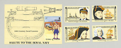 Turks & Caicos #666-670 Royal Navy, Ships 4v & 1v S/S Imperf Proofs