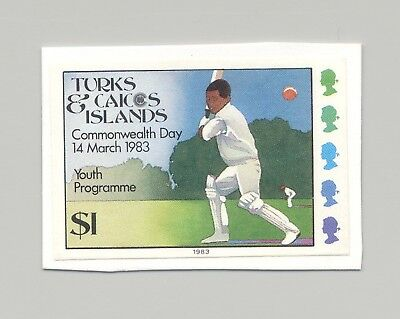 Turks & Caicos #558 Cricket, Sports 1v Imperf Proof on Card