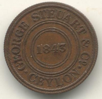 Ceylon, 1843 George Steuart and Co, Wekanke Mills Copper Token