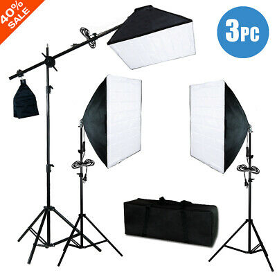 "900W 24"" Softbox Light Stand Photo Studio Photography Continuous Lighting Kit"