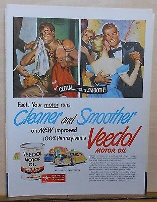 1947 magazine ad for Veedol Motor Oil - Clean Means Smooth! Clark Agnew art