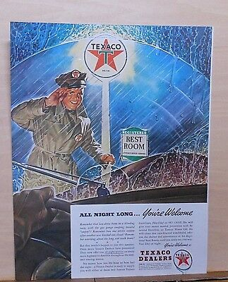1941 magazine ad for Texaco - Station attendant in rainstorm, All night welcome