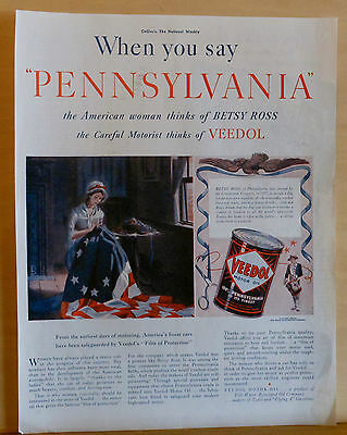 1939 magazine ad for Veedol Motor Oil - Betsy Ross & Veedol from Pennsylavania