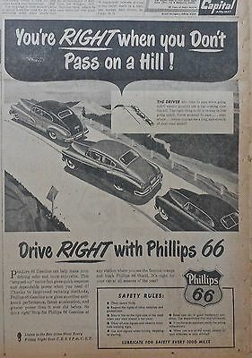 1950 newspaper ad for Phillips 66 gas - Don't pass on a hill! Drive Right