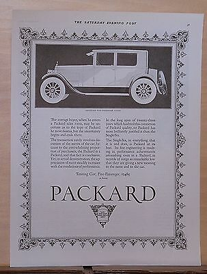 1923 magazine ad for Packard - Single Six 5-passenger Coupe illustration