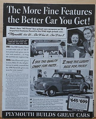 1940 magazine ad for Plymouth - The More Fine Features, The Better car you get