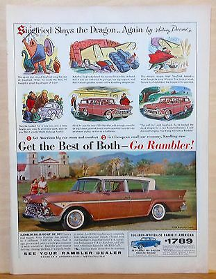 Vintage 1958 magazine ad for Rambler - cartoon story Siefried Slays the Dragon