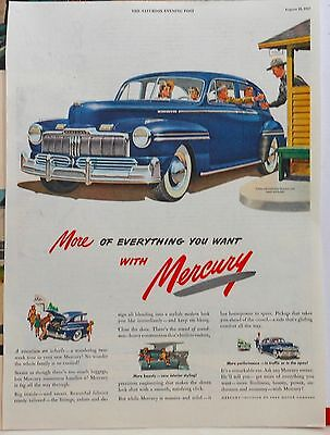 1947 magazine ad for Mercury - blue Mercury and park ranger, Vacation on Wheels