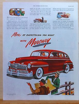 Vintage 1947 magazine ad for Mercury - red Mercury, woman gets travel directions