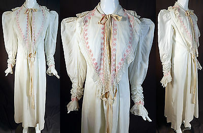 Victorian White Cotton Pink Embroidered Lace Mutton Sleeve Nightgown Dress Vtg