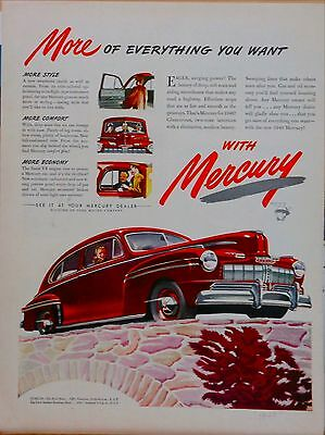 1946 magazine ad for Mercury - red Mercury car graphic, More Comfort More Style