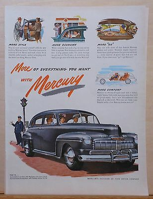 Vintage 1946 magazine ad for Mercury - gray 4-door and traffic cop, colorful