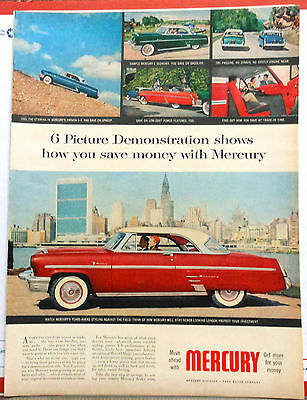 1953 magazine ad for Mercury - 6 Picture Demonstration shows how to save money