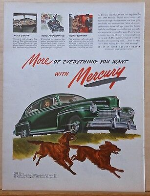 Vintage 1946 magazine ad for Mercury -  Irish Setters and green two-door car