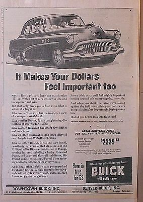 1952 newspaper ad for Buick - Makes Dollars Feel Important, 48D Special Sedan