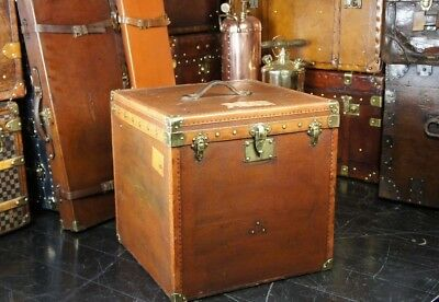 Beautiful Brass Cornered French Hatbox Trunk Side Table