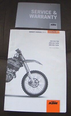 Ktm 85 250Sx - F / Xc250-F Owners Manual 2013 + Service Warranty