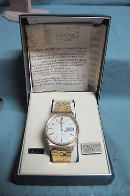 Vintage Seiko Quartz SQ Wrist Watch - 7123-8439 in Box with Papers