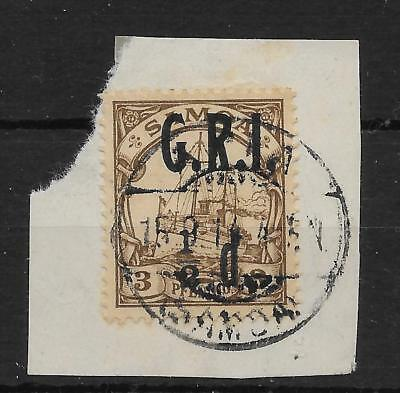 SAMOA SG101c 1914 ½d ON 3pf BROWN WITH COMMA FLAW USED ON SMALL PIECE