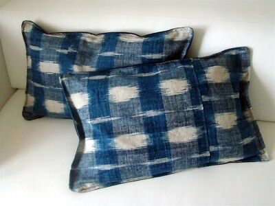 2 French antique pillows Indigo Ikat fabric textile 18th-century