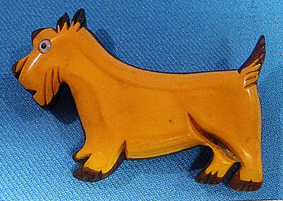 1930s RARE CARVED BAKELITE CATALIN LAMINATED WOOD SCOTTIE TERRIER DOG PIN BROOCH