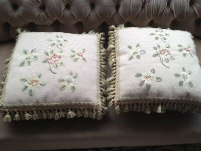 Pair Antique 19Th Century French Aubusson Silk Back Fringe Cushions Rrp:£400