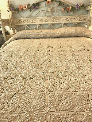 "French Farmhouse Antique Ecru Crocheted Bedspread Coverlet Popcorn HM 80""x100"""