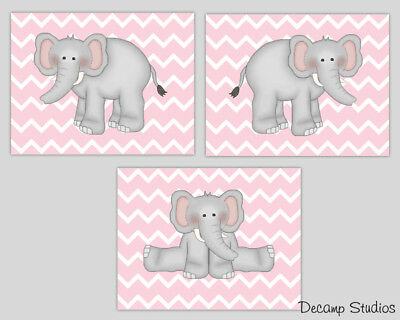 Elephant Nursery Prints Wall Art Baby Chevron Room Decor Blue Pink Yellow Purple