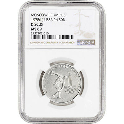 1978 (L) Russia Platinum 150 Roubles - Moscow Olympics Discus - NGC MS69