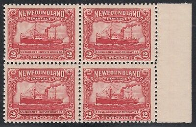 NFLD No 164 Mint Never Hinged VF Margin Block of 4