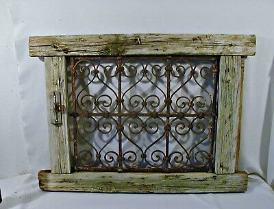 MOROCCAN MAGHREB ANTIQUE ARCHITECTURAL  WINDOW W/WROUGHT IRON GRILL 1800's