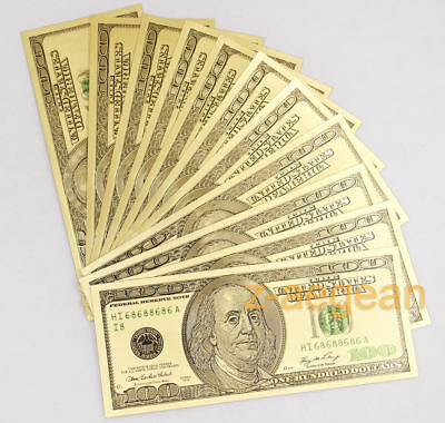 Lot 10 Pcs Color Gold Plated $100 US dollar Banknotes Crafts Collection Nice