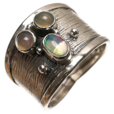 StarGems(tm) Natural Fire Opal Handmade Indian 925 Sterling Silver Ring, Size 7