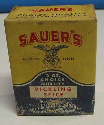 VINTAGE 1940's SAUER'S 2 OZ. PICKLING SPICE UNOPENED CARDBOARD BOX COUNTRY STORE