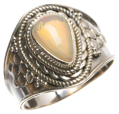 Natural Fire Opal Handmade Indian 925 Sterling Silver Ring, US size 8.5