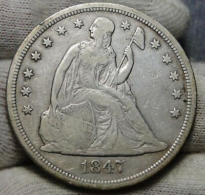 1847 Liberty Seated Dollar $1 - Key Date 140,750 Minted, Nice Coin (6806)